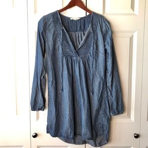 Love Stitch Chambray Tunic Top -M